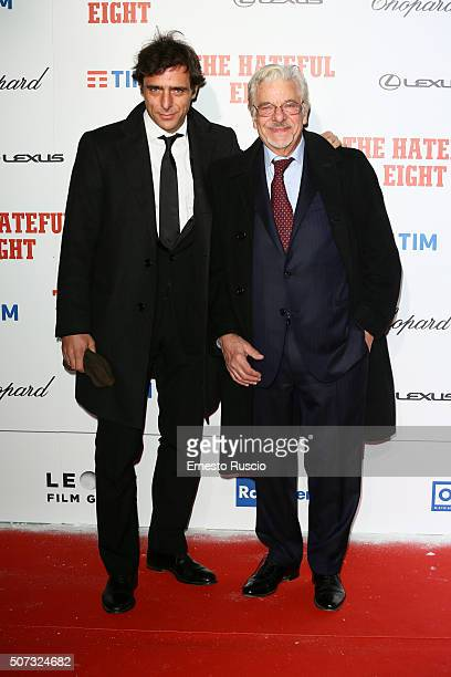 Adriano Giannini and his father Giancarlo Giannini walk the red carpet for 'The Hateful Eight' premiere on January 28 2016 in Rome Italy