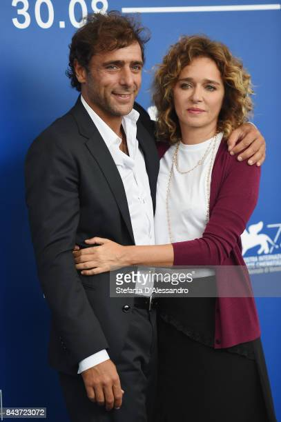 Adriano Giannini and Valeria Golino attend the 'Emma ' photocall during the 74th Venice Film Festival on September 7 2017 in Venice Italy