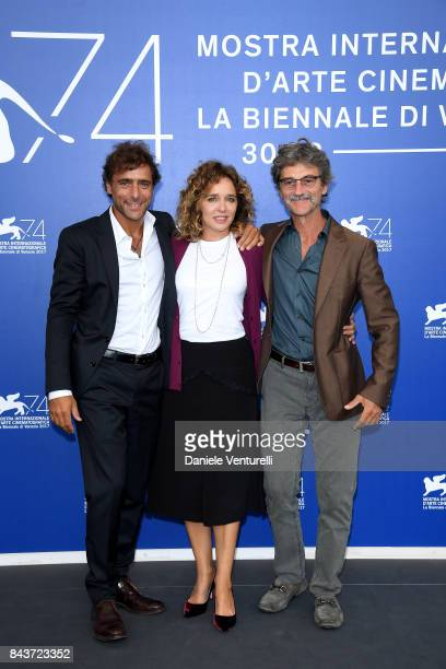 Adriano Giannini Valeria Golino and Silvio Soldini attend the 'Emma ' photocall during the 74th Venice Film Festival at Sala Casino on September 7...