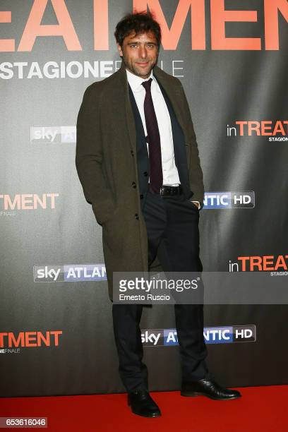 Adriano Giannini walks a red carpet for 'In Treatment' at Officine Farneto on March 15 2017 in Rome Italy