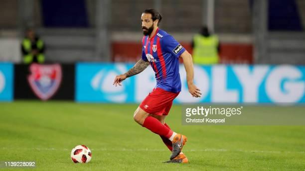 Adriano Grimaldi of Krefeld runs with the ball during the 3 Liga match between KFC Uerdingen 05 and 1 FC Kaiserslautern at SchauinslandReisenArena on...