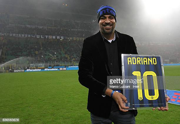 Adriano Leite Ribeiro receives a celebratory shirt before the Serie A match between FC Internazionale and SS Lazio at Stadio Giuseppe Meazza on...