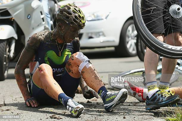 Adriano Malori of Italy and Movistar sits on the ground after a crash during the eleventh stage of the 2014 Giro d'Italia a 249km medium mountain...