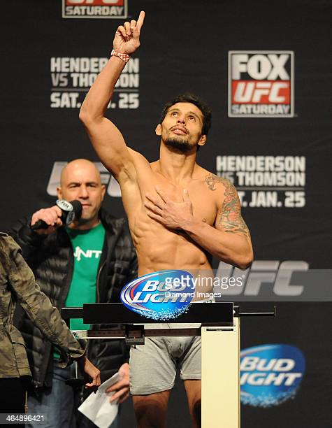 Adriano Martins weighs in during the UFC on Fox 10 Henderson v Thomson official weigh in the Chicago Theatre on January 24 2014 in Chicago New...