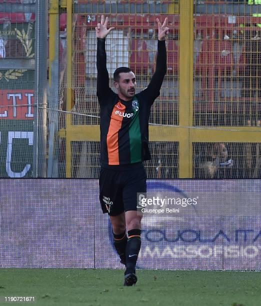 Adriano Montalto of Venezia FC celebrates after scoring opening goal during Serie B match between AC Perugia Calcio and Venezia FC at Stadio Renato...