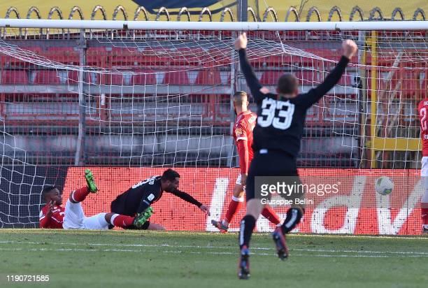 Adriano Montalto of Venezia FC scores opening goal during Serie B match between AC Perugia Calcio and Venezia FC at Stadio Renato Cuti on December 29...