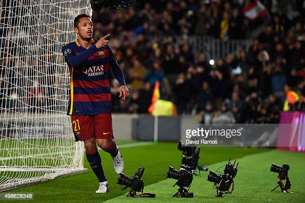 Adriano of Barcelona celebrates scoring his teams sixth goal during the UEFA Champions League Group E match between FC Barcelona and AS Roma at Camp...