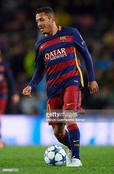 Adriano of Barcelona in action during the UEFA Champions League Group E match between FC Barcelona and AS Roma at Camp Nou on November 24 2015 in...