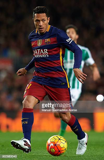 Adriano of Barcelona runs with the ball during the La Liga match between FC Barcelona and Real Betis Balompie at Camp Nou on December 30 2015 in...