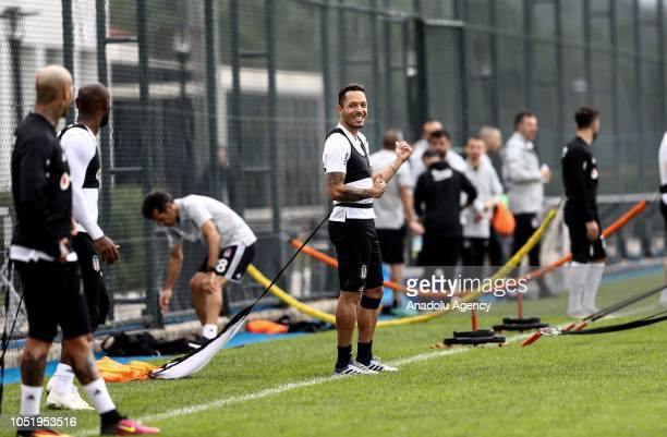 Adriano of Besiktas attends a training session ahead of the Turkish Super Lig week 9 soccer match against Goztepe at Nevzat Demir facilities in...
