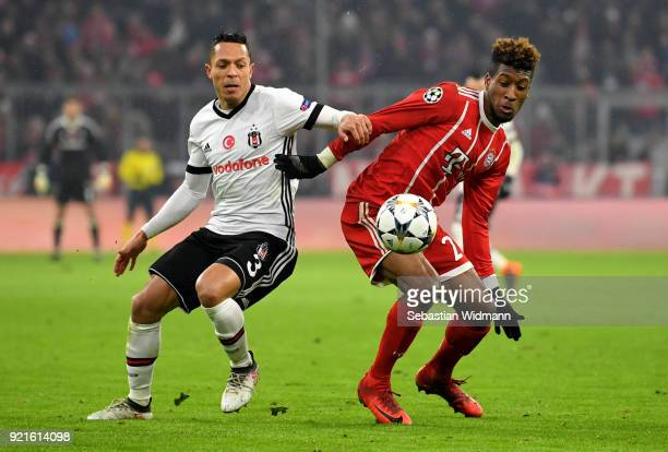 Adriano of Besiktas battles for possesion with Kingsley Coman of Bayern Muenchen during the UEFA Champions League Round of 16 First Leg match between...