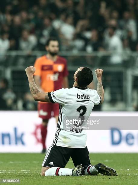 Adriano of Besiktas celebrates after a goal during the Turkish Super Lig match between Besiktas and Galatasaray at Vodafone Park in Istanbul Turkey...