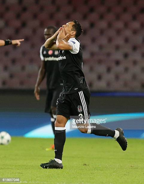 Adriano of Besiktas celebrates the opening goal during the UEFA Champions League match between SSC Napoli and Besiktas JK at Stadio San Paolo on...