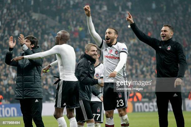 Adriano of Besiktas Cenk Tosun of Besiktas celebrates the victory during the UEFA Champions League match between Besiktas v FC Porto at the Vodafone...