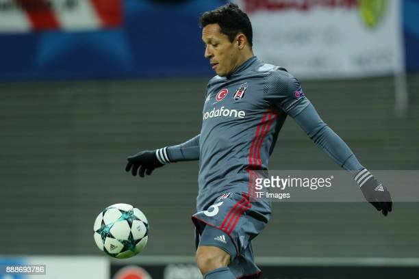 Adriano of Besiktas controls the ball during the UEFA Champions League group G soccer match between RB Leipzig and Besiktas at the Leipzig Arena in...