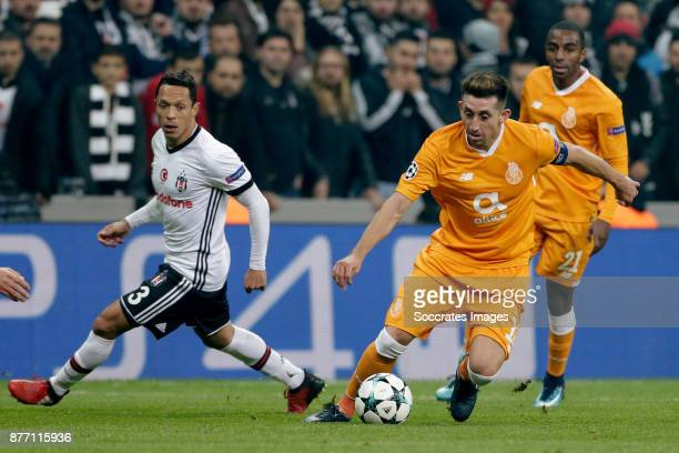 Adriano of Besiktas Hector Herrera of FC Porto during the UEFA Champions League match between Besiktas v FC Porto at the Vodafone Park on November 21...