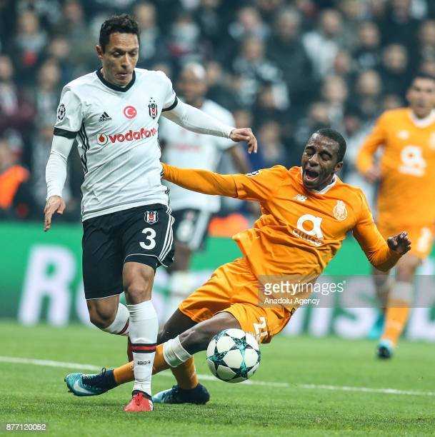 Adriano of Besiktas in action against Ricardo of Porto during the UEFA Champions League Group G soccer match between Besiktas and Porto at the...