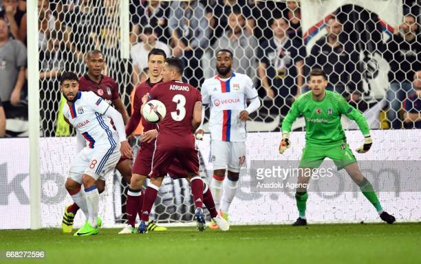Adriano of Besiktas in action during the UEFA Europa League first leg quarter final football match between Olympique Lyonnais and Besiktas JK at the...