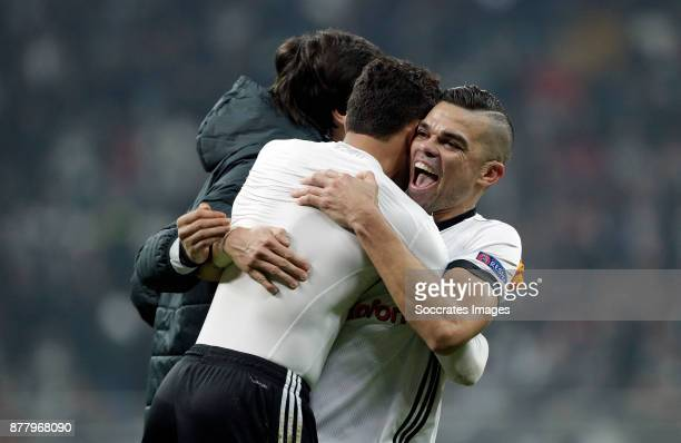 Adriano of Besiktas Pepe of Besiktas during the UEFA Champions League match between Besiktas v FC Porto at the Vodafone Park on November 21 2017 in...