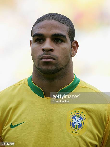 Adriano of Brazil before the international friendly match between Brazil and New Zealand at the Stadium de Geneva on June 4 2006 in Geneva Switzerland