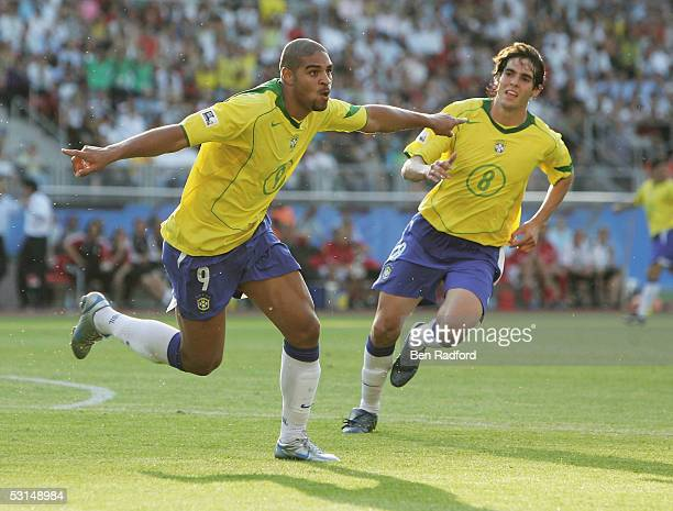 Adriano of Brazil celebrates after scoring Barazil's third goal during the 2005 FIFA Confederations Cup Semi Final match between Germany and Brazil...