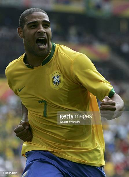 Adriano of Brazil celebrates after scoring his team's second goal during the FIFA World Cup Germany 2006 Round of 16 match between Brazil and Ghana...