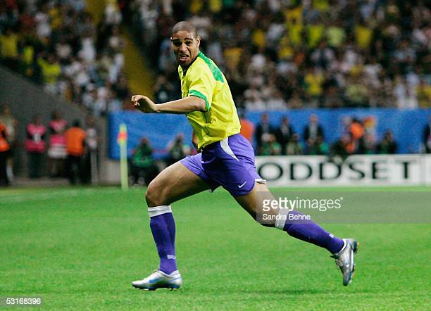 Adriano of Brazil celebrates scoring Brazil's first goal during the FIFA 2005 Confederations Cup Final between Brazil and Argentina at the...