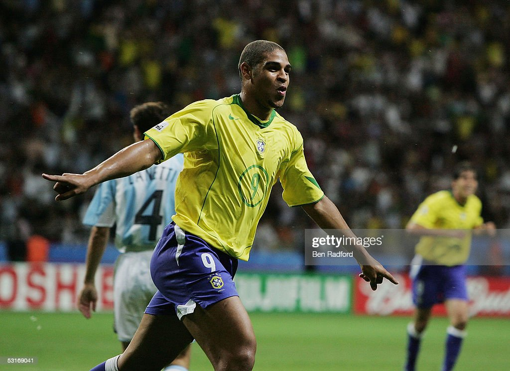 Adriano of Brazil celebrates scoring his team's fourth goal during the FIFA 2005 Confederations Cup Final between Brazil and Argentina at the Waldstadion on June 29, 2005, in Frankfurt, Germany.