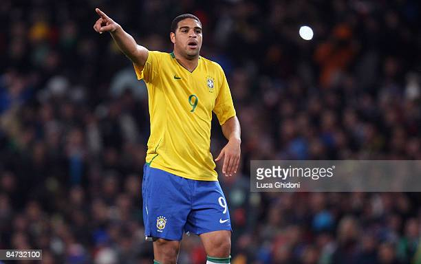 Adriano of Brazil gestures during the international friendly match between Italy and Brazil at Emirates Stadium on February 10 2009 in London England