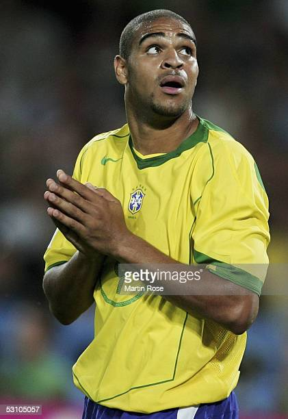Adriano of Brazil gestures during the match between Mexico and Brazil in the FIFA Confederations Cup 2005 in the AWD Arena on June 19 2005 in Hanover...