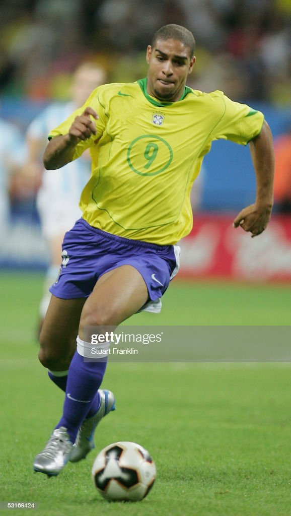 Adriano of Brazil in action during the FIFA 2005 Confederations Cup Final between Brazil and Argentina at the Waldstadion on June 29, 2005, in Frankfurt, Germany.