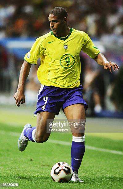 Adriano of Brazil in action during the FIFA 2005 Confederations Cup Final between Brazil and Argentina at the Waldstadion on June 29 in Frankfurt...