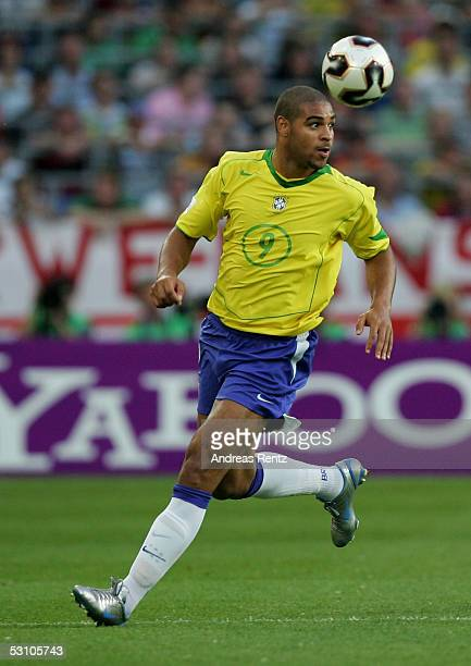 Adriano of Brazil in action during the FIFA Confederations Cup 2005 match between Mexico and Brazil on June 19 2005 in Hanover Germany