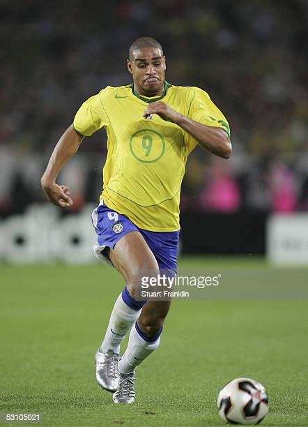 Adriano of Brazil in action during The FIFA Confederations Cup Match between Mexico and Brazil at The AWD Arena on June 19 2005 in Hanover Germany