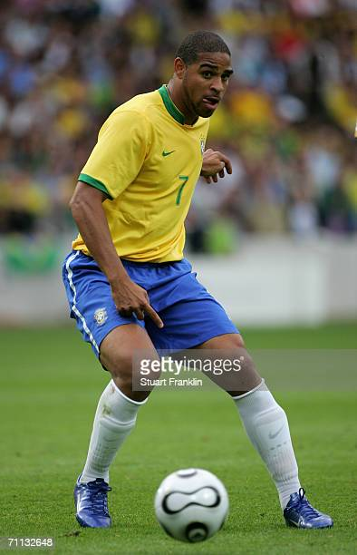 Adriano of Brazil in action during the international friendly match between Brazil and New Zealand at the Stadium de Geneva on June 4, 2006 in...
