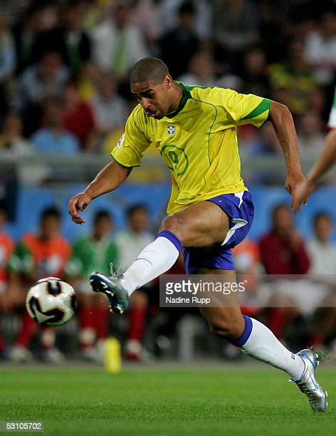 Adriano of Brazil in action during the match between Mexico and Brazil for the Confederations Cup 2005 on June 19 2005 in Hanover Germany