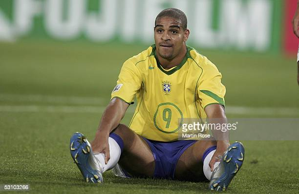 Adriano of Brazil looks dejected after defeat in the match between Mexico and Brazil in the FIFA Confederations Cup 2005 in the AWD Arena on June 19...