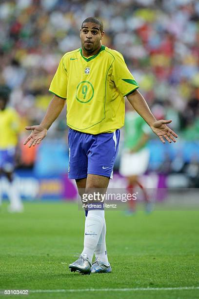 Adriano of Brazil reacts after loosing against Mexico 01 in the FIFA Confederations Cup 2005 match between Mexico and Brazil on June 19 2005 in...