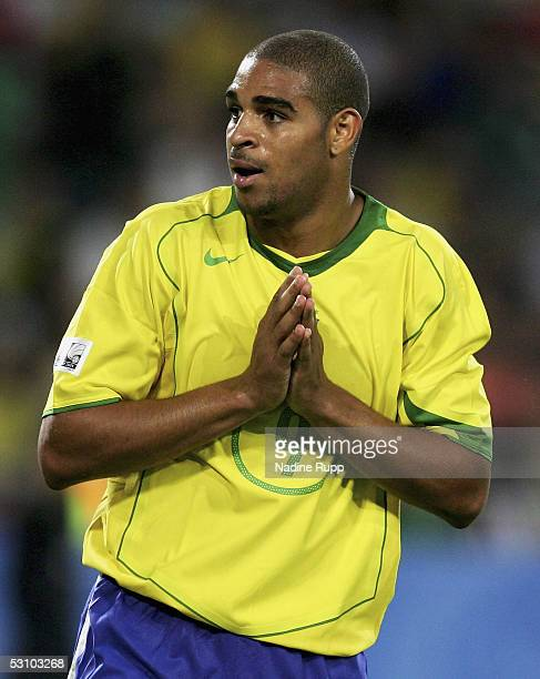Adriano of Brazil reacts during the match between Mexico and Brazil in the FIFA Confederations Cup 2005 at the AWD Arena on June 19 2005 in Hanover...