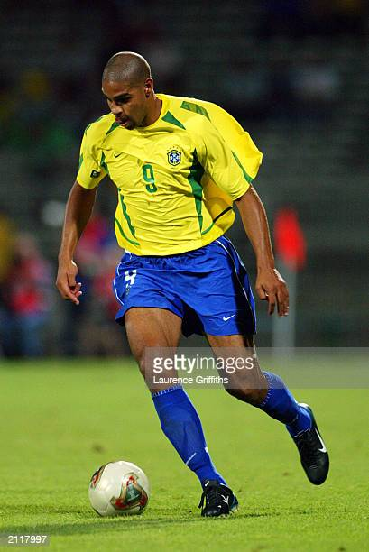 Adriano of Brazil runs with the ball during the FIFA Confederations Cup Group B match between USA and Brazil held on June 21 2003 at the Stade...
