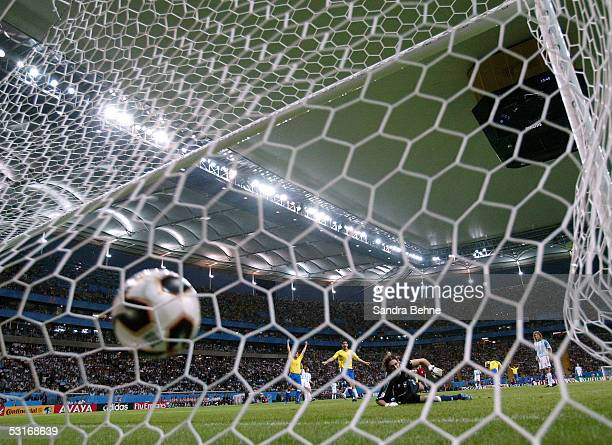 Adriano of Brazil scores his team's first goal during the FIFA 2005 Confederations Cup Final between Brazil and Argentina at the Waldstadion on June...