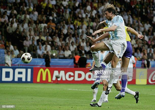 Adriano of Brazil scores his team's fourth goal during the FIFA 2005 Confederations Cup Final between Brazil and Argentina at the Waldstadion on June...