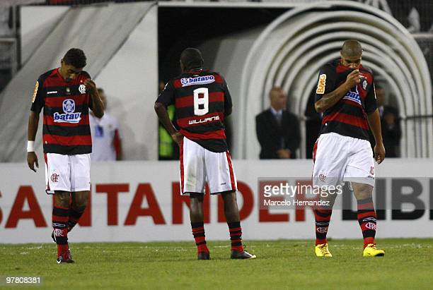 Adriano of Brazil's Flamengo reacts after a scored goal by Chile's Universidad de Chile during a match as part of the Santander Libertadores Cup on...