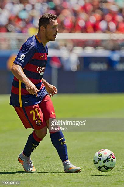 Adriano of FC Barcelona passes the ball against Manchester United FC in the first half during the International Champions Cup on July 25 2015 at...