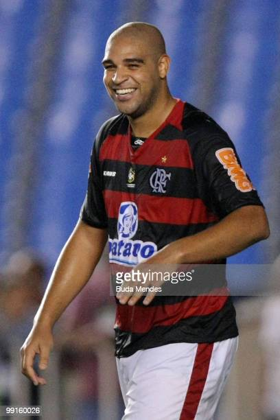 Adriano of Flamengo celebrate scored goal against Universidad de Chile during a match as part of Libertadores Cup at Maracana Stadium on May 12 2010...