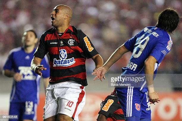 Adriano of Flamengo reacts during a match against Universidad de Chile as part of Libertadores Cup at Maracana Stadium on May 12, 2010 in Rio de...