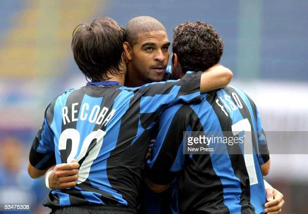 Adriano of Inter celebrates a goal during the Serie A match between Internazionale and Treviso at the Giuseppe Meazza San Siro on August 28 2005 in...
