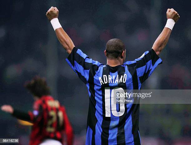 Adriano of Inter celebrates after scoring during the Serie A match between Inter Milan and AC Milan played at the Giuseppe Meazza San Siro stadium on...