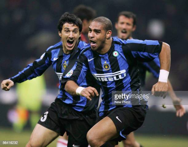Adriano of Inter celebrates after scoring his injury time winner during the Serie A match between Inter Milan and AC Milan played at the Giuseppe...