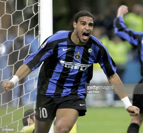 Adriano of Inter celebrates scoring during the Serie A game between Inter Milan and Sampdoria at the San Siro on March 11, 2006 in Milan, Italy.